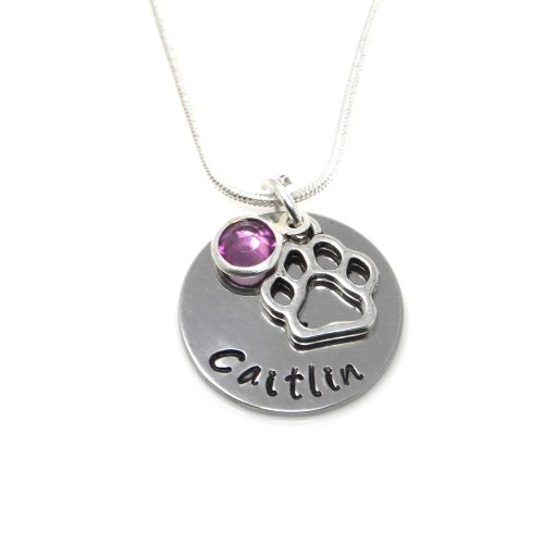 Personalised Dog Paw Necklace with Birthstone Charm – Gift Boxed & Free Delivery UK